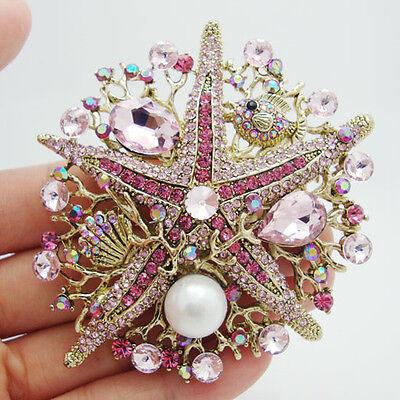 Fashion Starfish Pink Rhinestone Crystal Pearl Gold-tone Brooch Pin Pendant - Starfish Pink