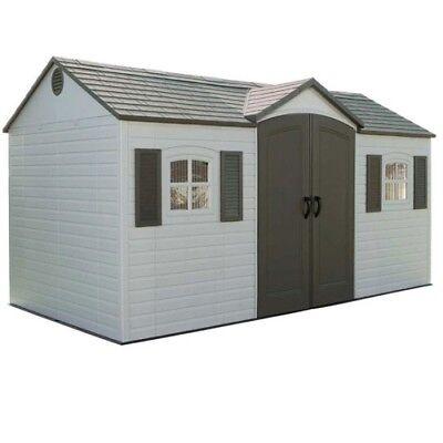 Lifetime 6446 Plastic Garden Storage Shed 8x15 Outdoor Building Yard Tool +Floor