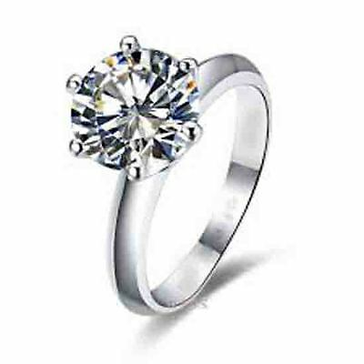 LADY'S 0.60CT G DIAMOND ROUND CUT SOLITAIRE ENGAGEMENT RING 14K WHITE GOLD