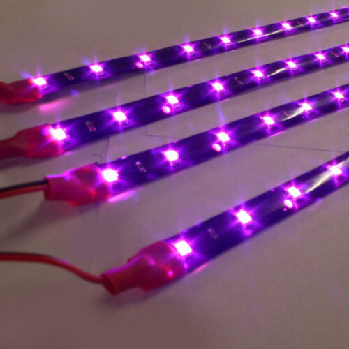 "4x 12"" Pink/Purple 1210 SMD Flexible LED Light Strips for Car-Truck-Bike"