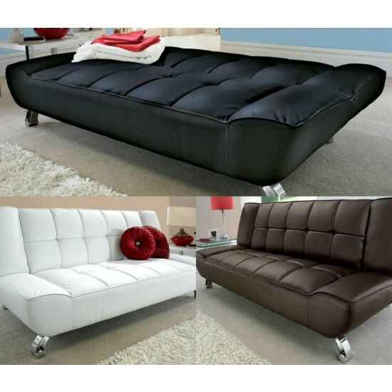 Leather Sofa Bed 3 Seater Futon Day Black Grey Fabric Contemporary