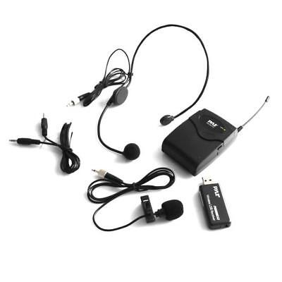 (Pyle Belt Pack Microphone System w Wireless USB Receiver Headset Mic & Lavalier)