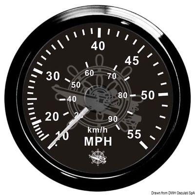 Osculati Pitot Geschwindigkeitsmesser 0-65 Mph Schwarzpoli
