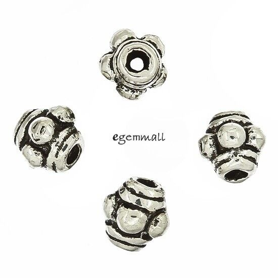 10 Bali Sterling Silver Dotted Spacer Beads 3.5mm #97744