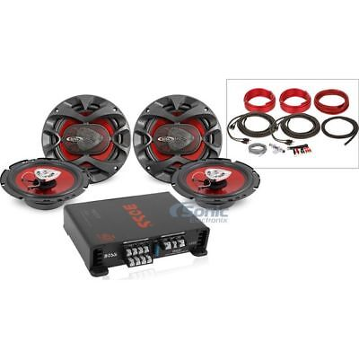 "2 Pair Boss CH6500 6.5"" Car Speakers + Boss R1004 4-Channel Amplifier + Amp Kit"