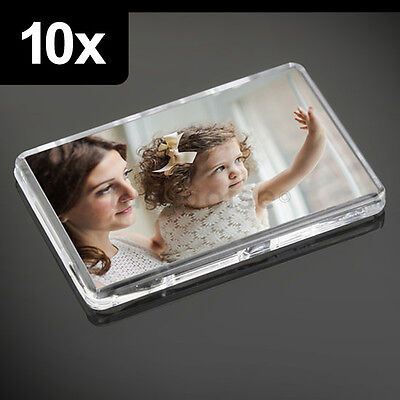 10x Premium Quality Clear Acrylic Blank Fridge Magnets 70 x 45 mm | Large Photo