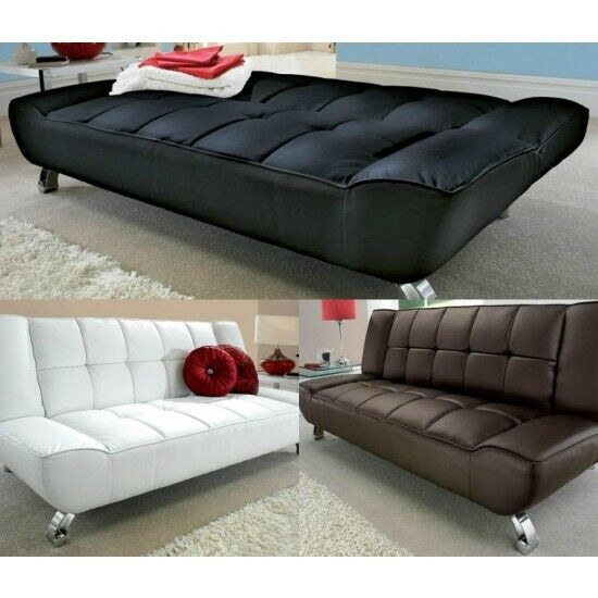 Modern Leather Sofa Bed Day Futon 3 Seater
