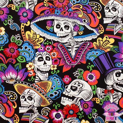 Folklorico Dia De La Catrina Black Sugar Skull Large Alexander Henry Fabric Yard