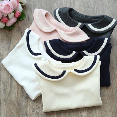 Toddler Girls' Peter Pan Collar Polo Shirt Blouse Long Sleeve T-shirts 2 to (Girls Peter Pan Collar Blouse)