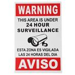 English Spanish Security Warning Sign Camera Sticker Warn...