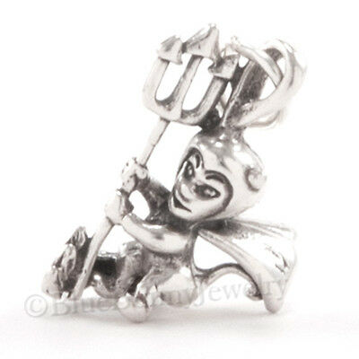 DEVIL Charm Pendant 925 STERLING SILVER Horns Cape Pitchfork Halloween cute - 3d Halloween Charms