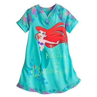 NWT Disney Store 4 5 6 7 8 9 10 Ariel Nightshirt Gown Little Mermaid Pjs Pajamas