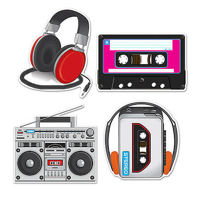 1980's / 80's Decade Theme Party Supplies CASSETTE PLAYER CUTOUT DECORATIONS