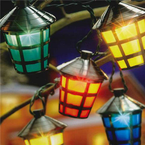 10 Led Multi Colour Vintage Hanging Lantern Garden Party