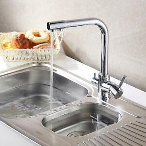 3 Way Dual Faucet Water Filter Tri Flow Kitchen Mixer Tap Sink Faucet 0509