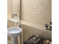 Beige Leaves Effect Matte Tiles (30cmx90cm)