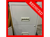 Grey Home Office Metal Two Drawers Filing Cabinet Storage Shelves Files