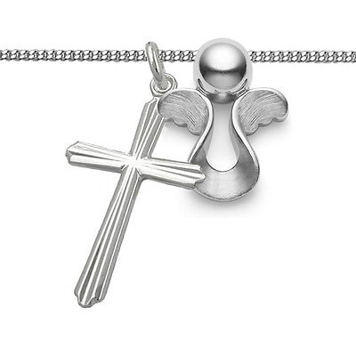 Kinder Taufe Kommunion Kreuz moderner Schutzengel Anhänger Kette Echt Silber 925