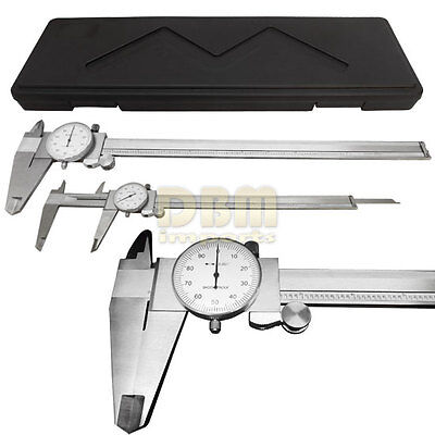 Stainless Steel 12 Mechanical Dial Caliper Measures Outside Inside Ruler Scale