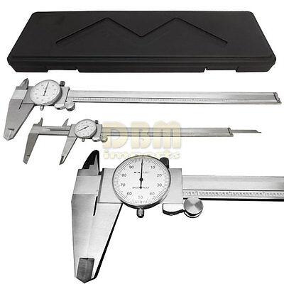 "Stainless Steel 12"" Mechanical Dial Caliper Measures Outside Inside Ruler Scale"