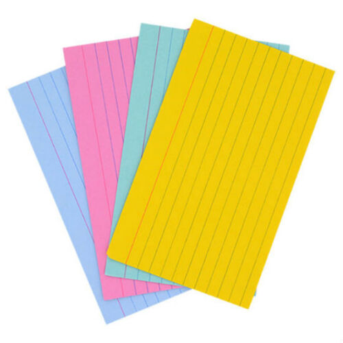 """Jot Index Cards Ruled 3 x 5"""" 100 Cards Ideal for Presentations ~ Colored"""