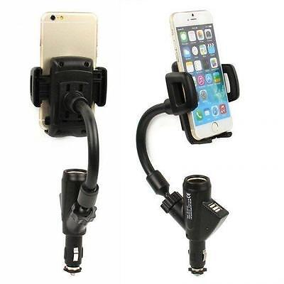 Car Cigarette Lighter Socket+Dual USB Charger+Mount Holder F Phone GPS+Best