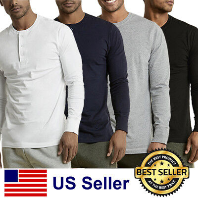 - New Mens Henley Shirt T-shirts shirts Long Sleeve Cotton Pullover Comfy Button