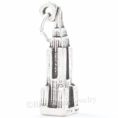 EMPIRE STATE Charm BUILDING Pendant New York TRAVEL Solid STERLING SILVER 3D 925