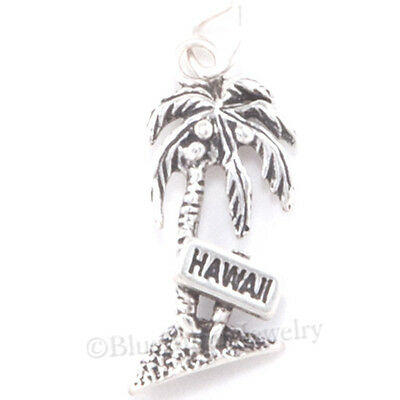 PALM TREE Charm HAWAII Sign Hawaiian charm 925 Sterling Silver Beach Ocean .925