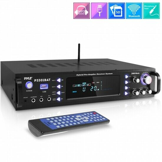Pyle P3301BAT Bluetooth Hybrid Amplifier Receiver Stereo Amp