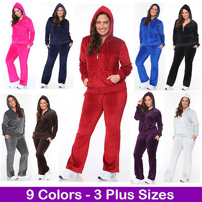 - Women's Plus Size Athletic Velour Zip Up Hoodie & Sweat Pants Set Jogging Suit