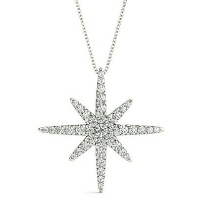 - NEW 14k WHITE GOLD NORTH STAR DIAMOND SLIDE PENDANT NECKLACE CHARM JEWELRY