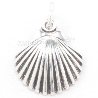 SEA SHELL Charm scallop shell Pendant Seashell Beach Sterling Silver 3D 925  (Scalloped Shell Charm)