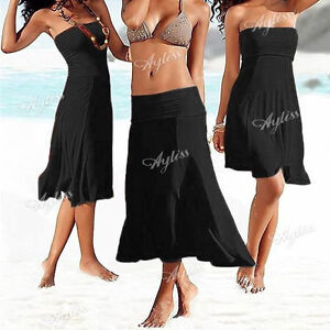 Sexy 3 in 1 Women Strapless Bikini Cover-Up Bandeau Dress Swimwear Beach Skirt