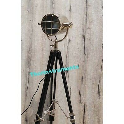 Hollywood Nautical Spot Light With Black Tripod Stand Floor Lamp Home Decor