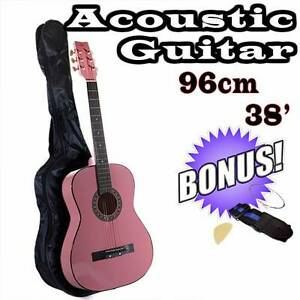 """New 38"""" Pink Steel String Acoustic Classical Guitar Pack - Bag, S Bayswater Knox Area Preview"""