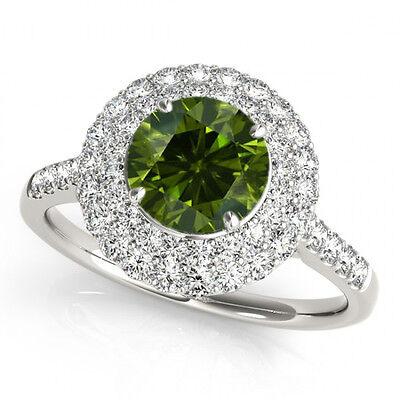 1 Ct Green And White Diamond Ring Best Price on Ebay 14k White Gold
