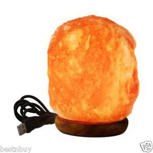 Himalayan Natural Crystal Salt Lamp, USB, LED, 4 inch On Wooden Base