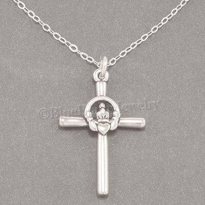 CLADDAGH CROSS Necklace CELTIC Irish Heart Pendant STERLING SILVER 925 18