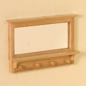 pine hall mirror with hooks dolls house miniature wall mirror ebay. Black Bedroom Furniture Sets. Home Design Ideas