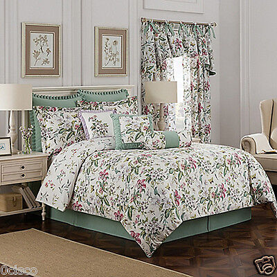 BUTTERFLY FLORAL KING COMFORTER 4pc  Williamsburg Green Palace NWT NIB NEW NEW