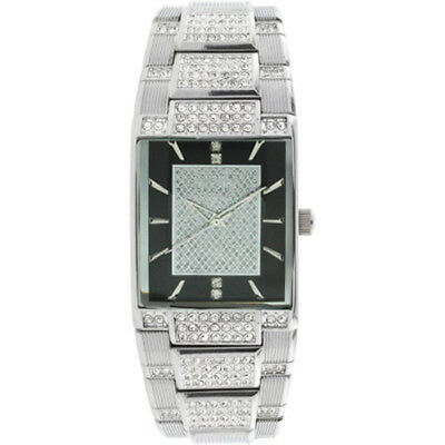 Accented Clasp - Elgin Men Silver Tone Black Dial Crystal Accented Jewelry Clasp Bracelet Watch