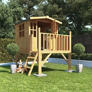 Childrens Wooden Outdoor Playhouse Tower Play Tree House Kids Wendy Garden House