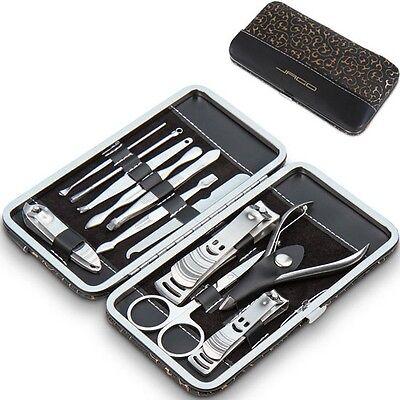 12 tlg. Maniküre Set Nagelpflege Pediküre Nagelset Nagelschere Nagelknipser Etui