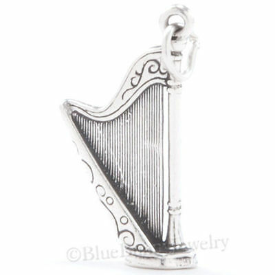 HARP Charm Pendant Celtic Music Ireland Irish Solid .925 STERLING SILVER 3D ()