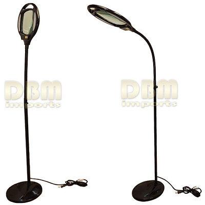 Black Reading Magnifier Floor Stand Lamp Light Flexible G...