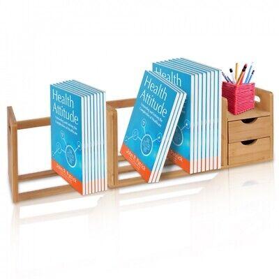 Serene-life Bamboo Desktop Shelf Organizer Unit With Drawers Adjustable Shelf