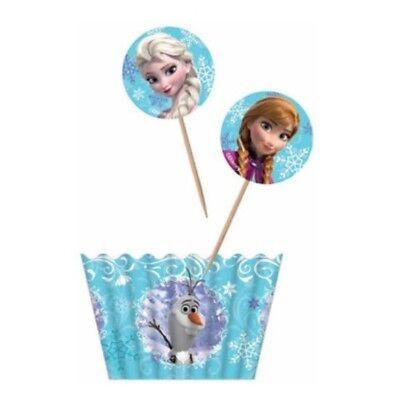 Frozen Cupcake Liner (12 Disney Licensed Frozen Cupcake Topper + 12 Baking Liner Cup Elsa Anna Olaf)
