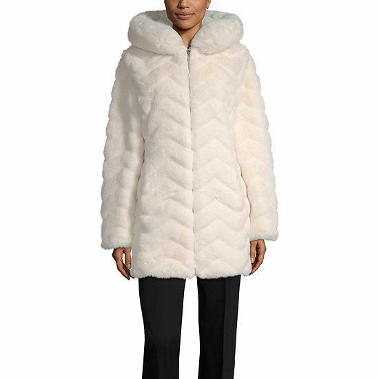 Women's Liz Claiborne Faux Fur Hooded Heavyweight Faux Fur C
