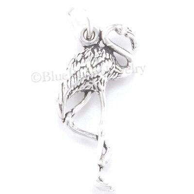 FLAMINGO Charm Pendant Florida pink flamingo Bird Sterling Silver 3D 925 Jewelry
